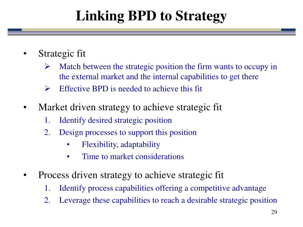 Linking BPD to Strategy