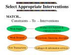 select appropriate interventions