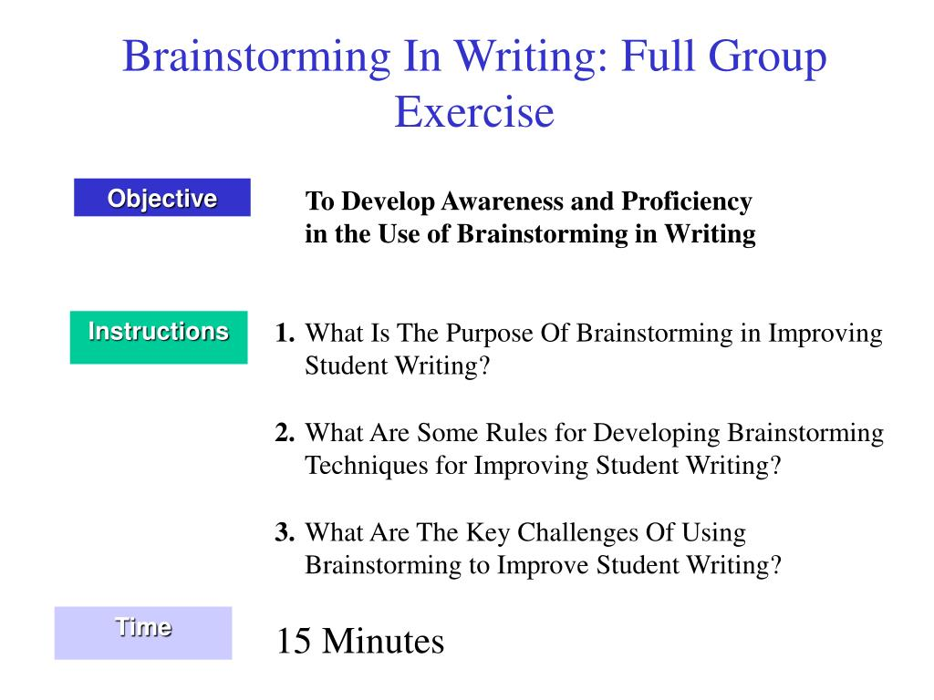 Brainstorming In Writing: Full Group Exercise