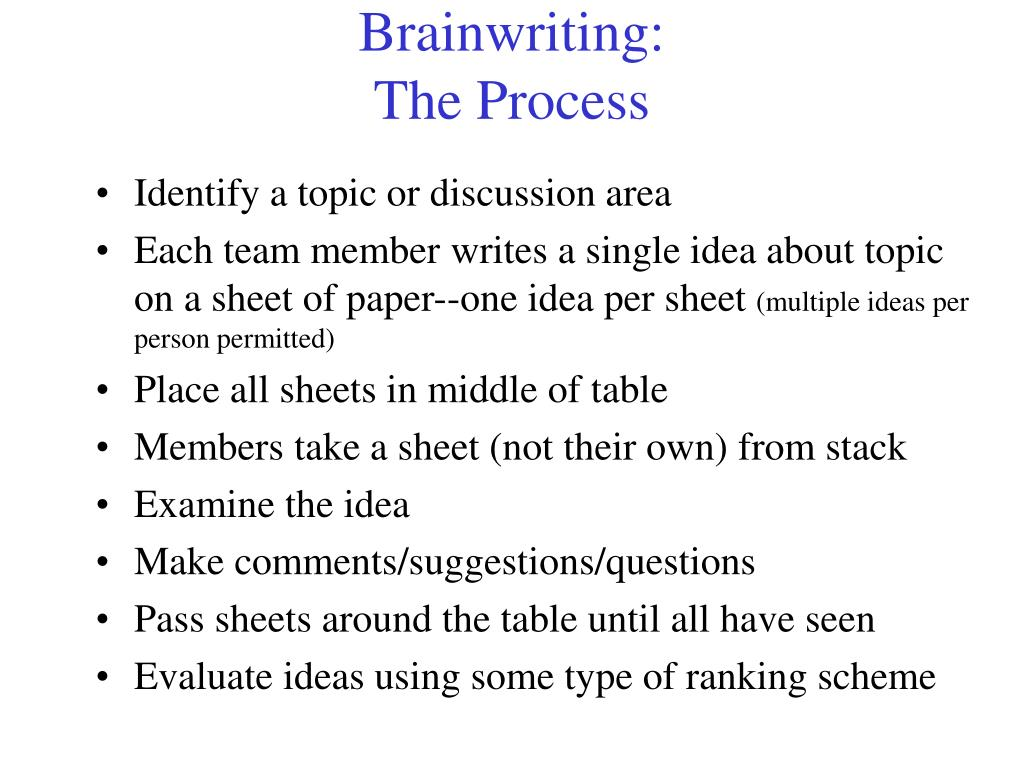 Brainwriting: