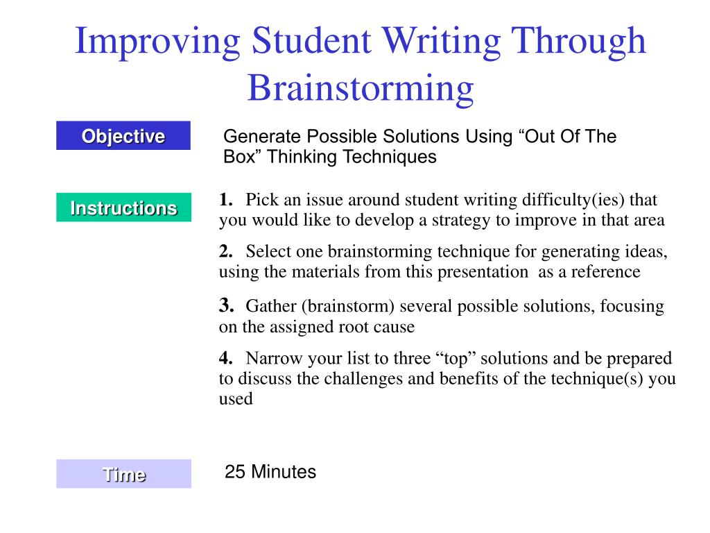 Improving Student Writing Through Brainstorming