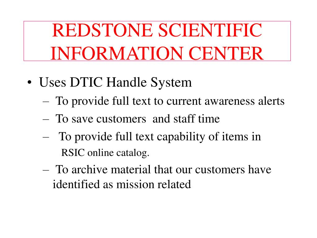 redstone scientific information center l.