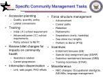 specific community management tasks