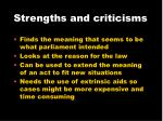 strengths and criticisms11