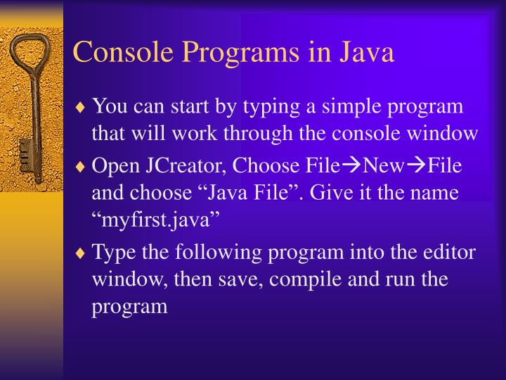 Console Programs in Java