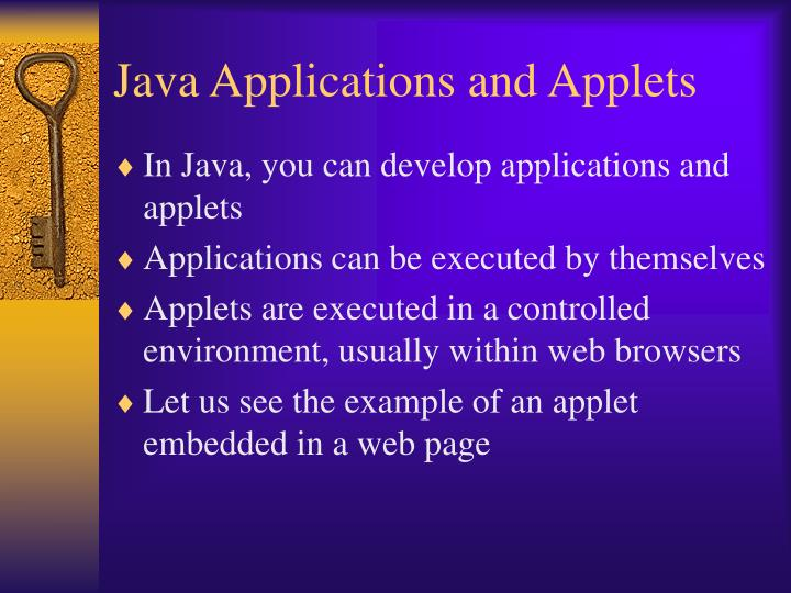 Java applications and applets
