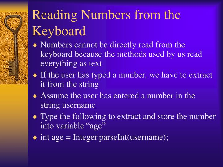 Reading Numbers from the Keyboard