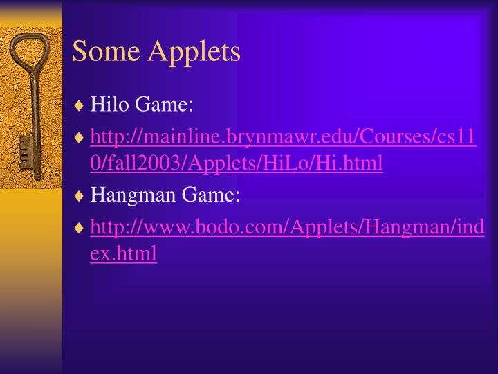 Some Applets