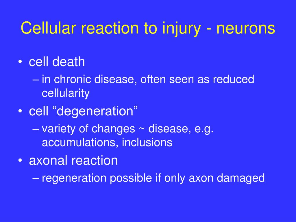Cellular reaction to injury - neurons