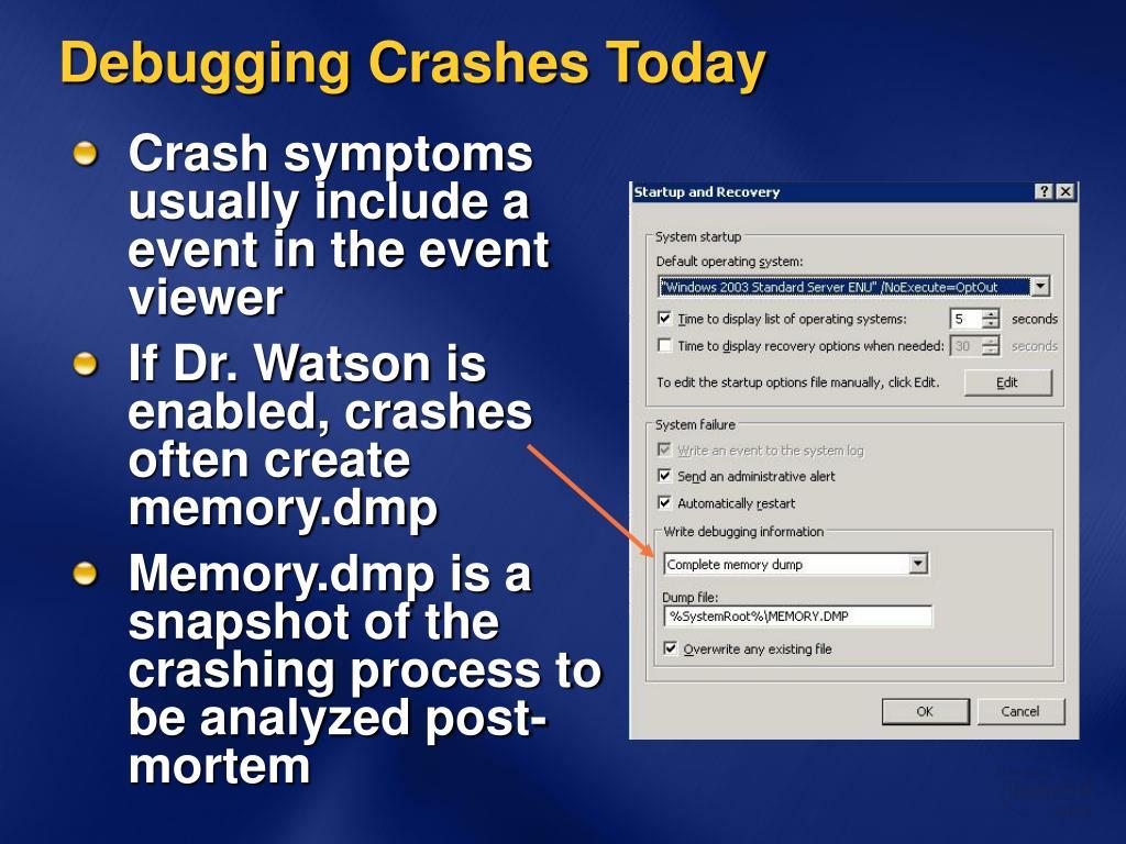 Debugging Crashes Today