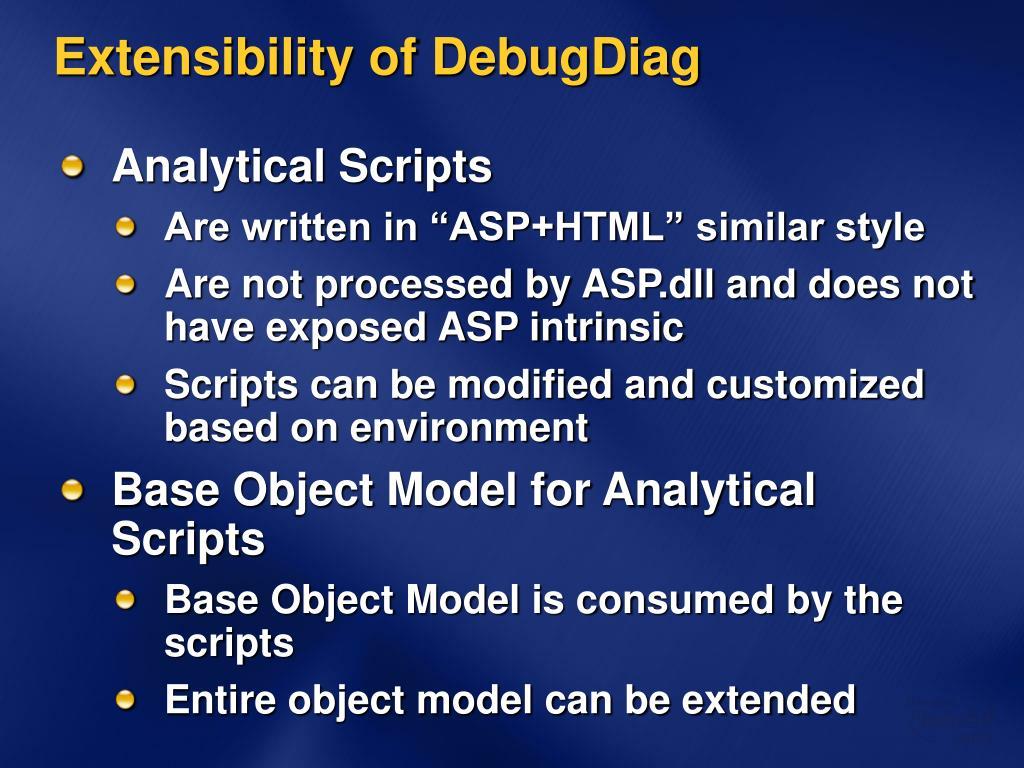 Extensibility of DebugDiag