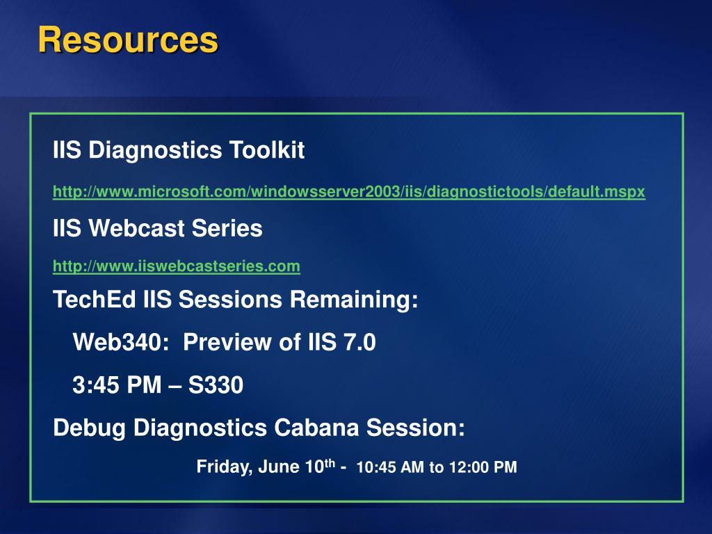 IIS Diagnostics Toolkit