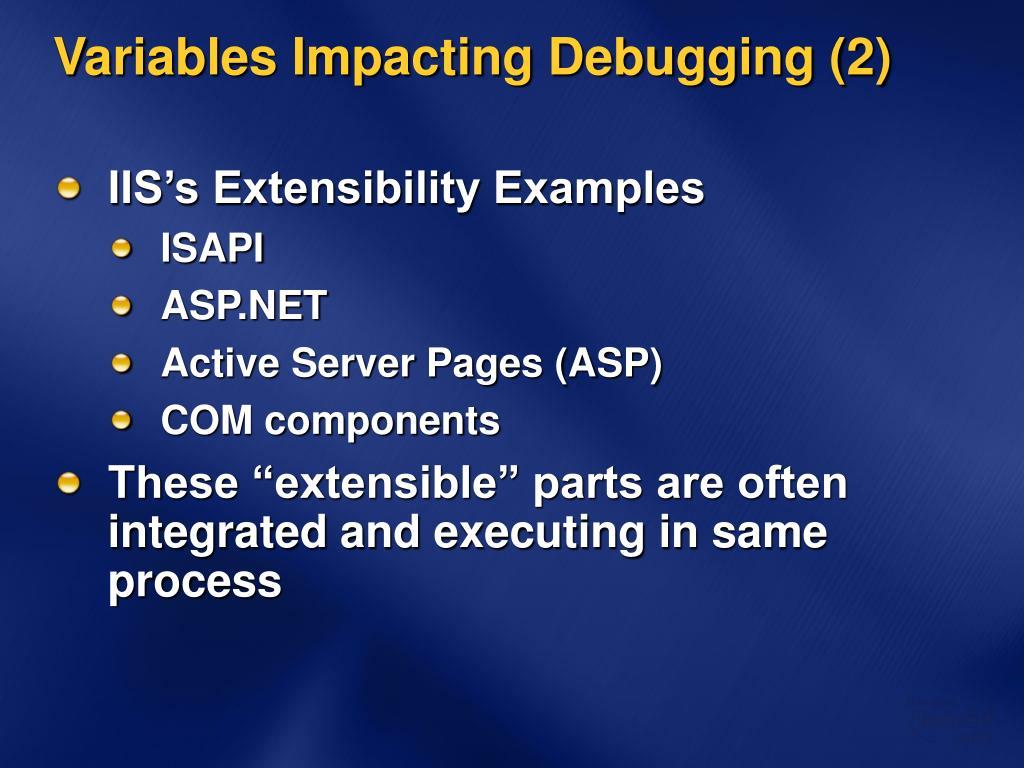 Variables Impacting Debugging (2)