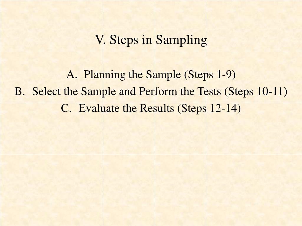 V. Steps in Sampling