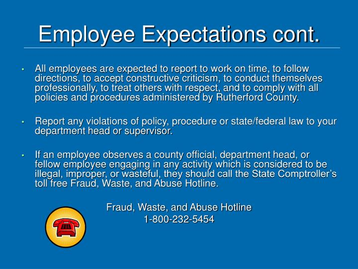 Employee expectations cont