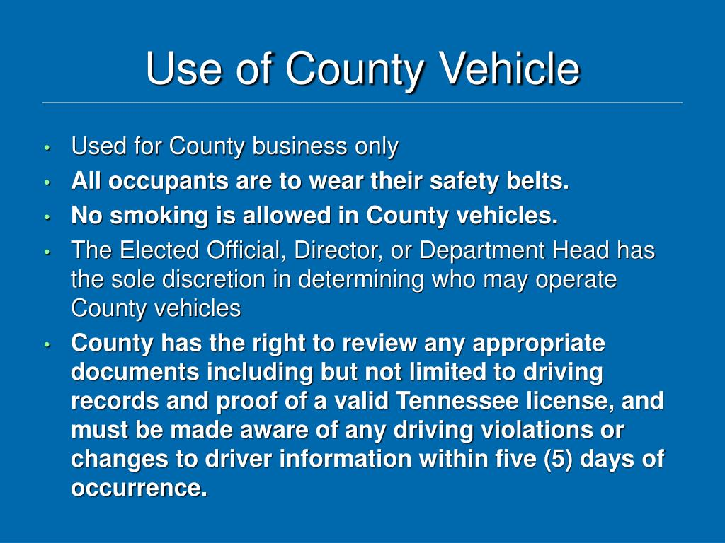 Use of County Vehicle