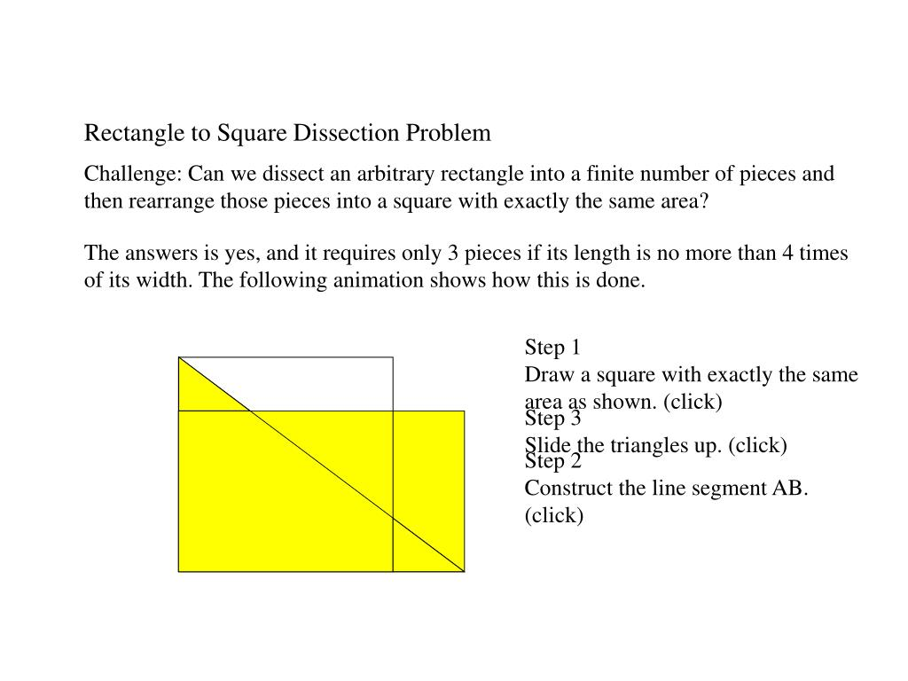 Rectangle to Square Dissection Problem