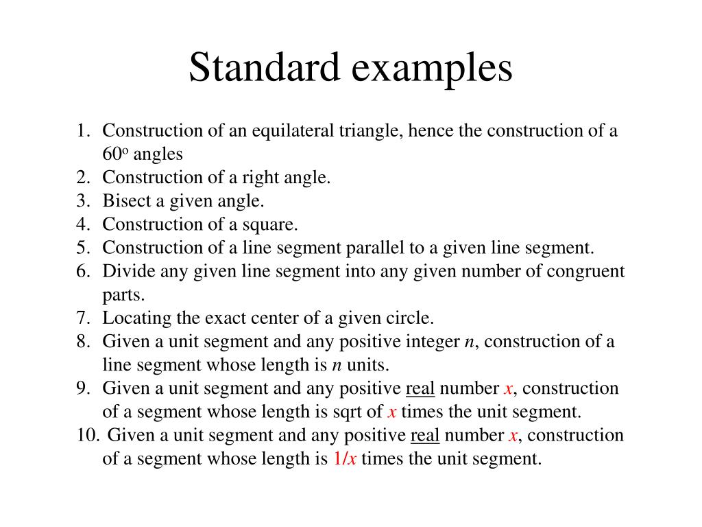 Standard examples