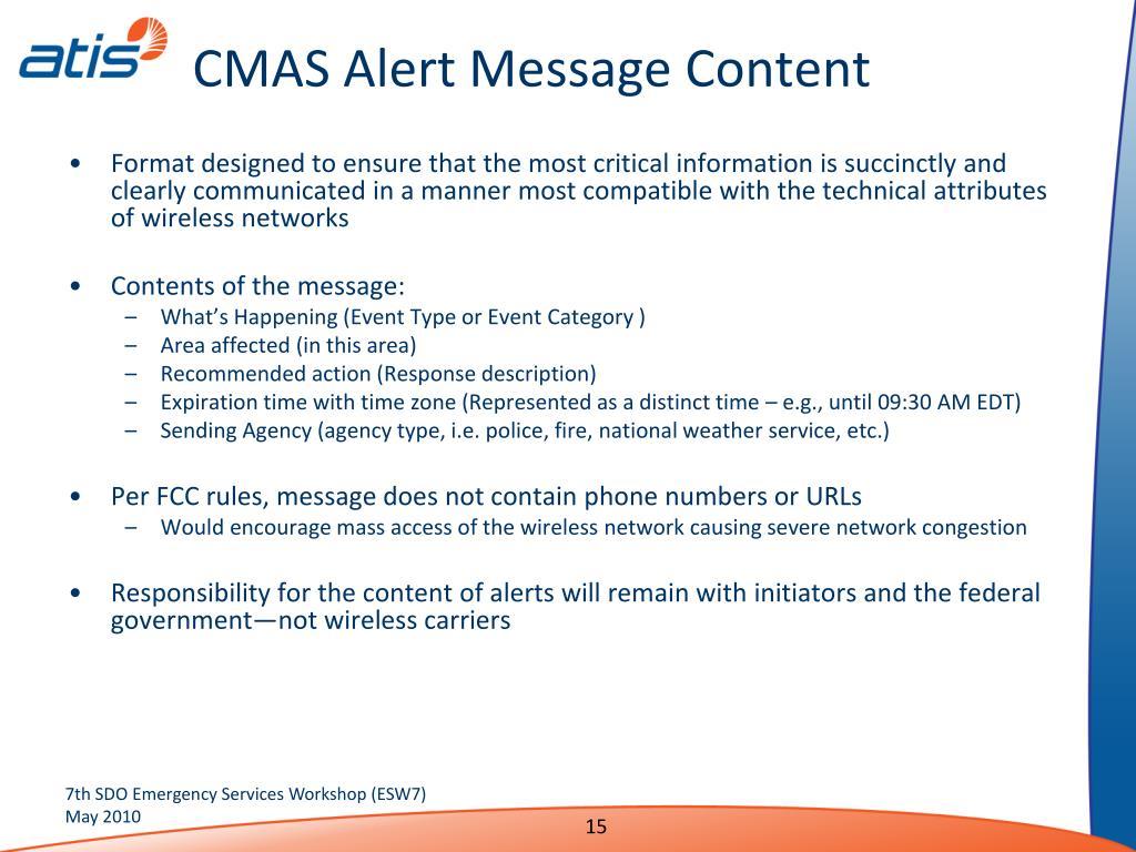 CMAS Alert Message Content