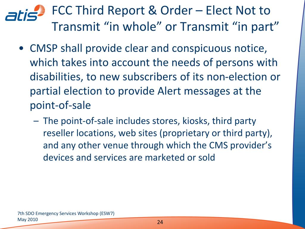 """FCC Third Report & Order – Elect Not to Transmit """"in whole"""" or Transmit """"in part"""""""