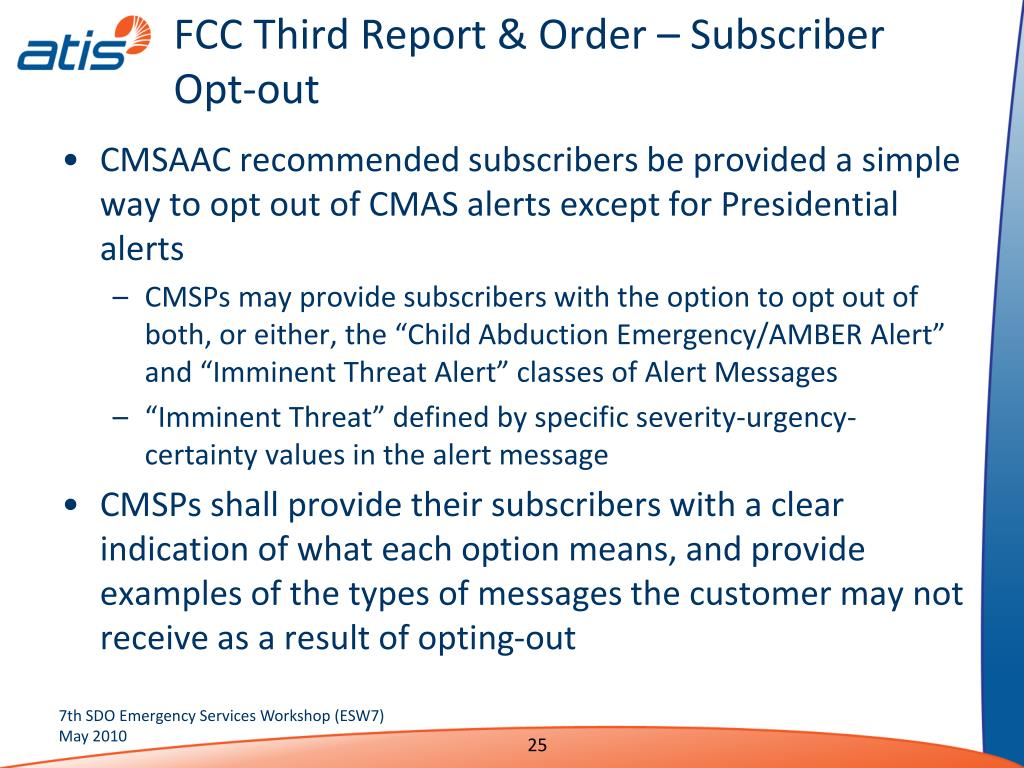 FCC Third Report & Order – Subscriber Opt-out