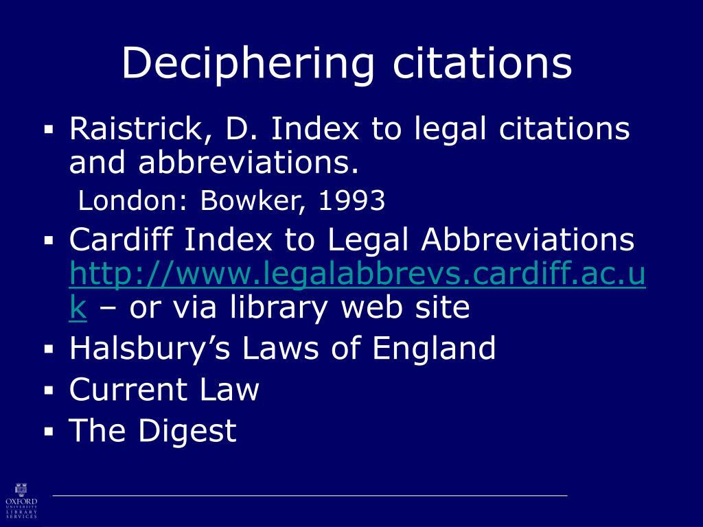 Deciphering citations