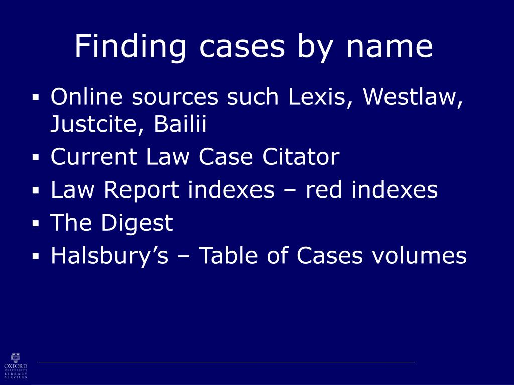 Finding cases by name