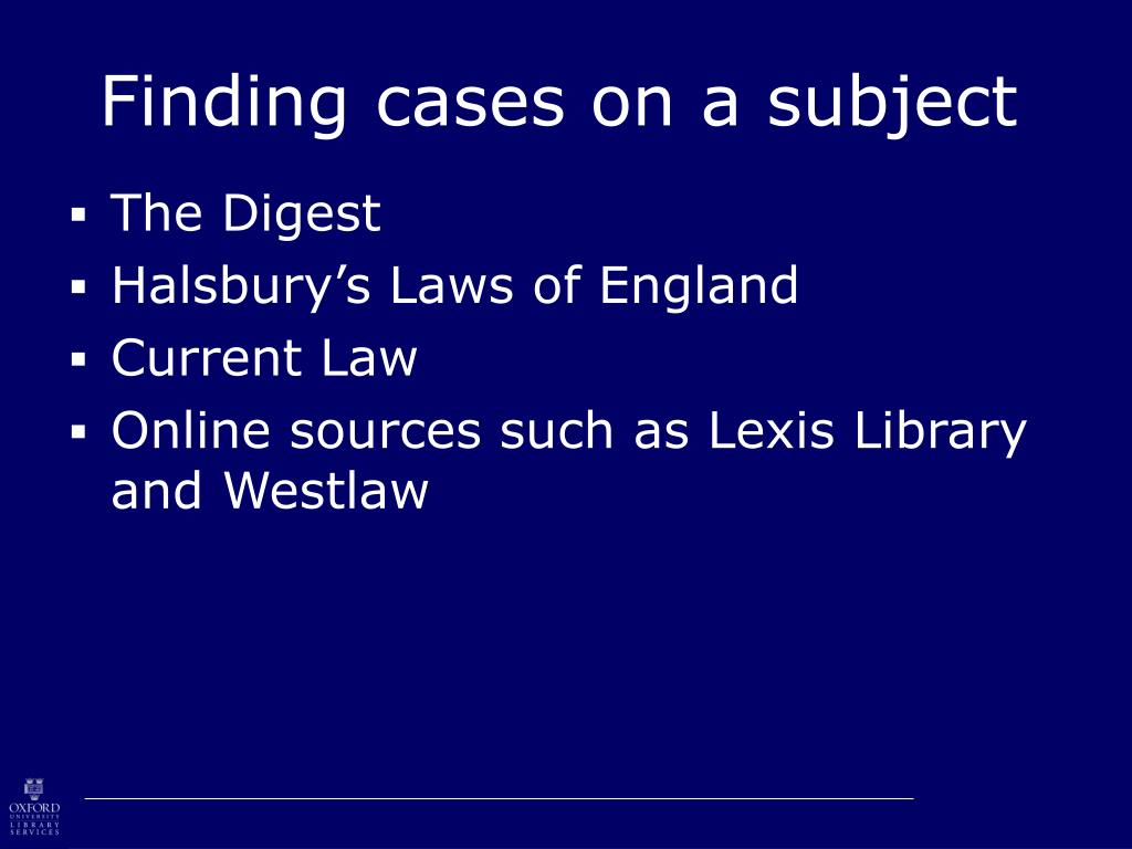 Finding cases on a subject