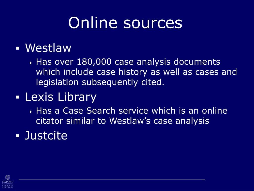 Online sources