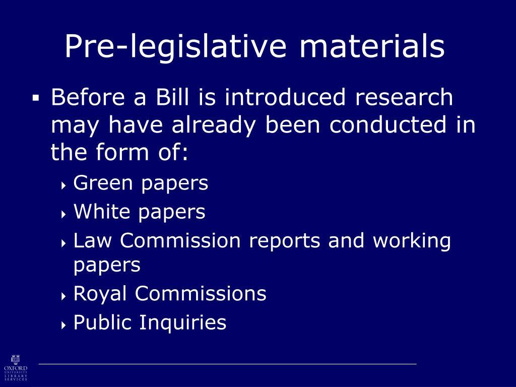 Pre-legislative materials