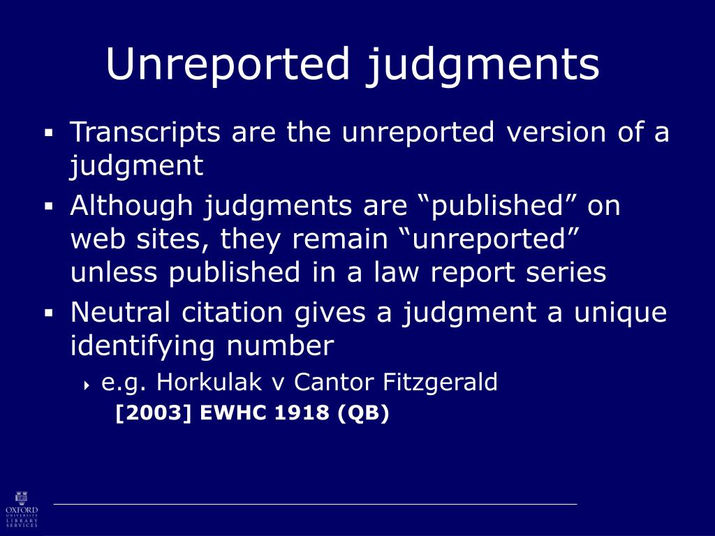 Unreported judgments