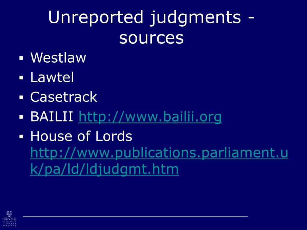 Unreported judgments - sources