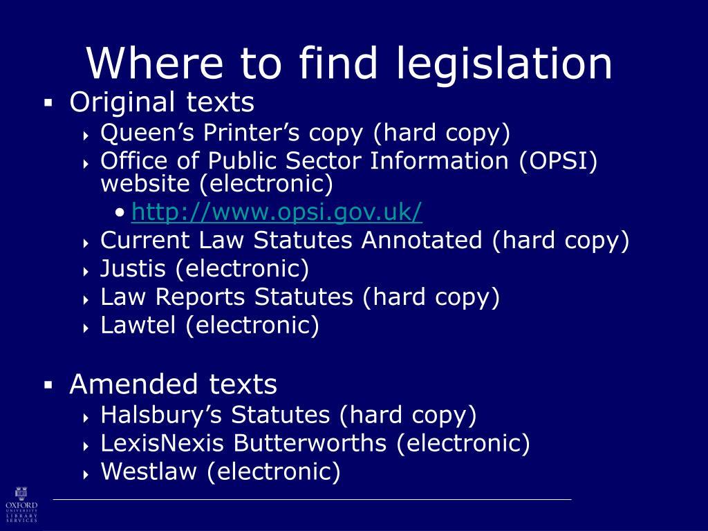 Where to find legislation