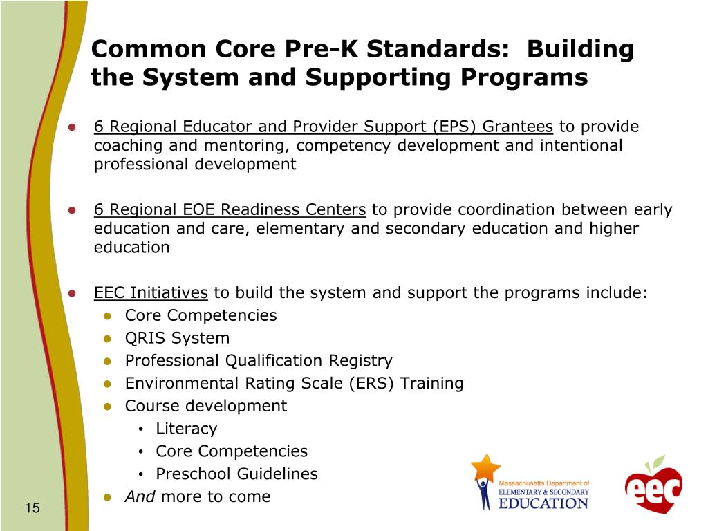 Common Core Pre-K Standards:  Building the System and Supporting Programs