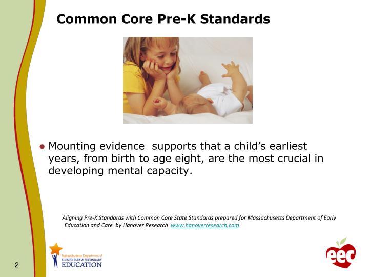 Common core pre k standards