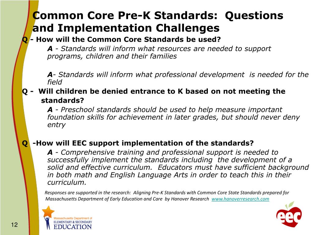 Common Core Pre-K Standards:  Questions and Implementation Challenges