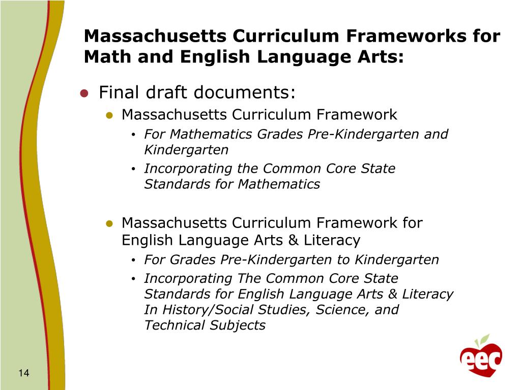 Massachusetts Curriculum Frameworks for Math and English Language Arts: