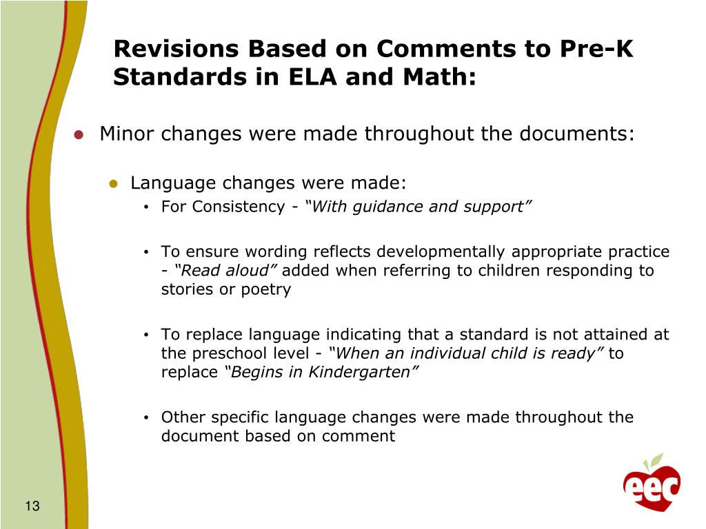 Revisions Based on Comments to Pre-K Standards in ELA and Math:
