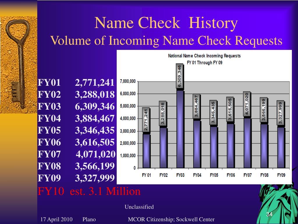 Name Check  History