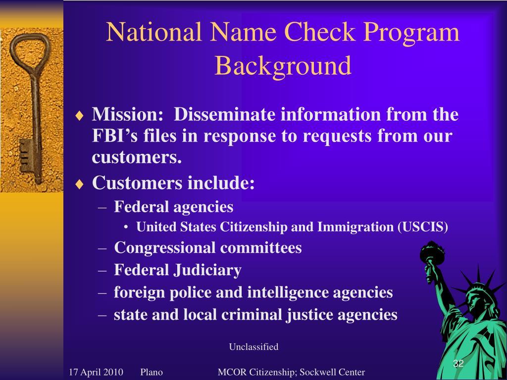 National Name Check Program Background