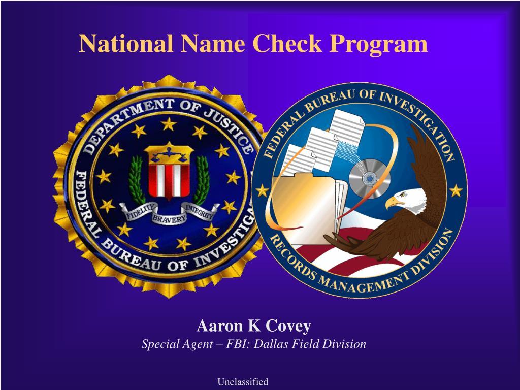 National Name Check Program
