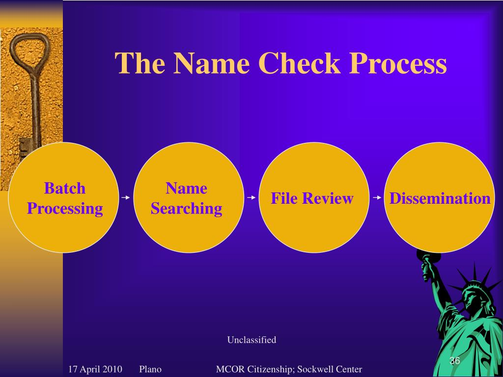 The Name Check Process