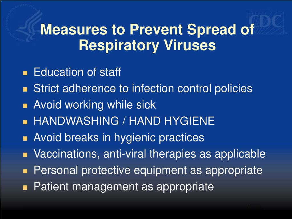 Measures to Prevent Spread of Respiratory Viruses