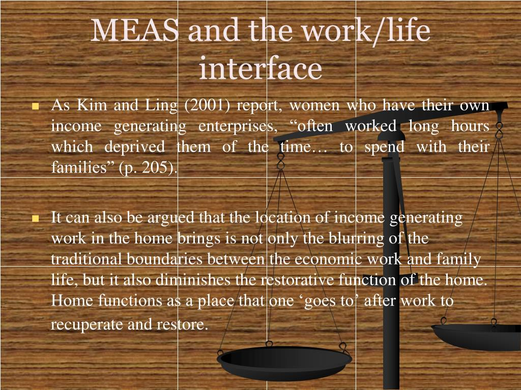 MEAS and the work/life interface
