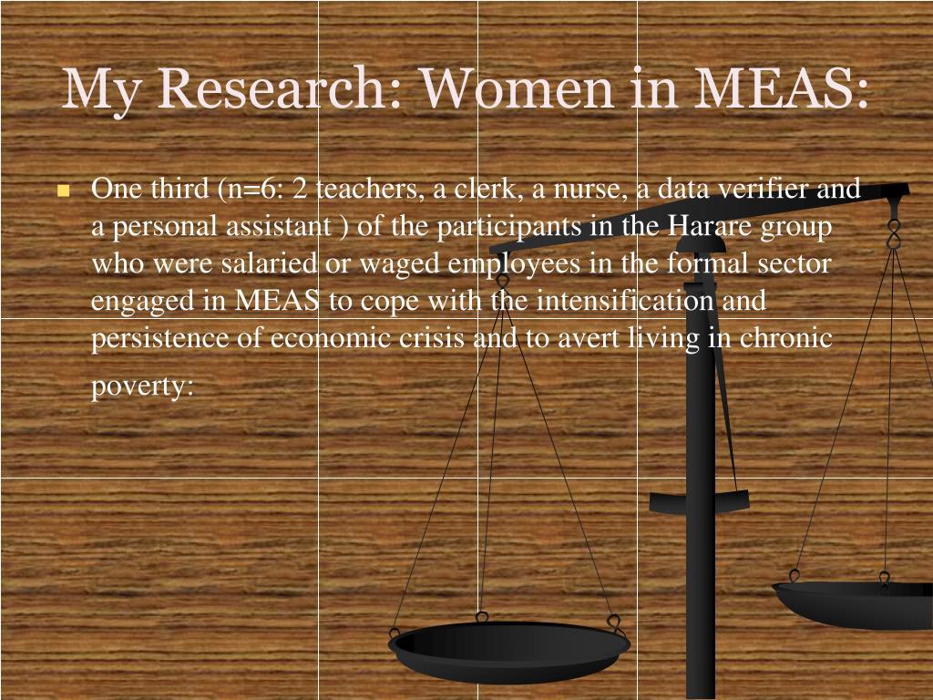 My Research: Women in MEAS: