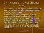components of the alsde model policy10