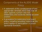 components of the alsde model policy8