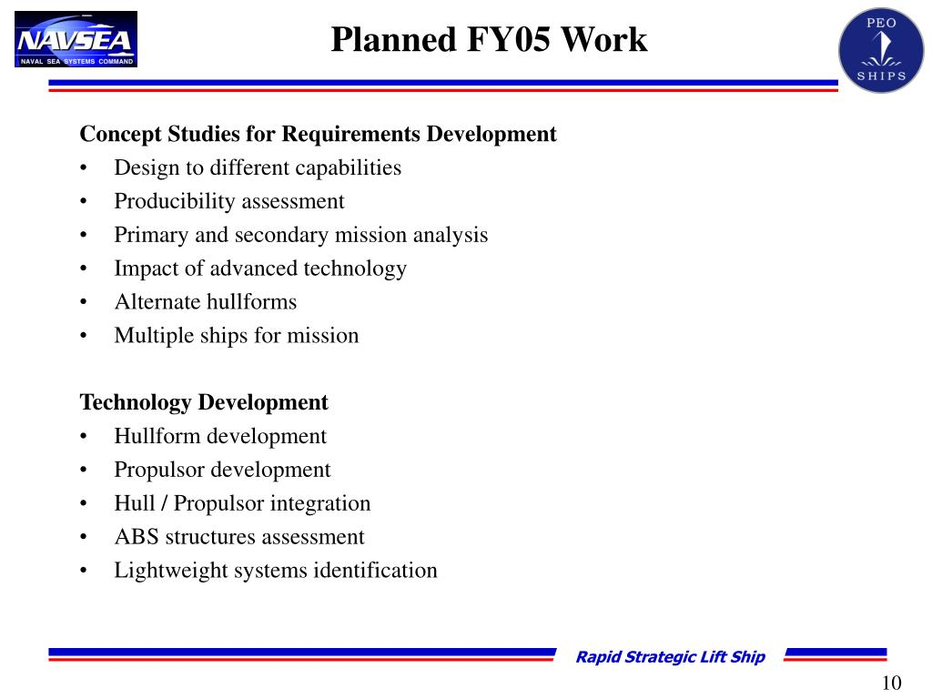 Planned FY05 Work