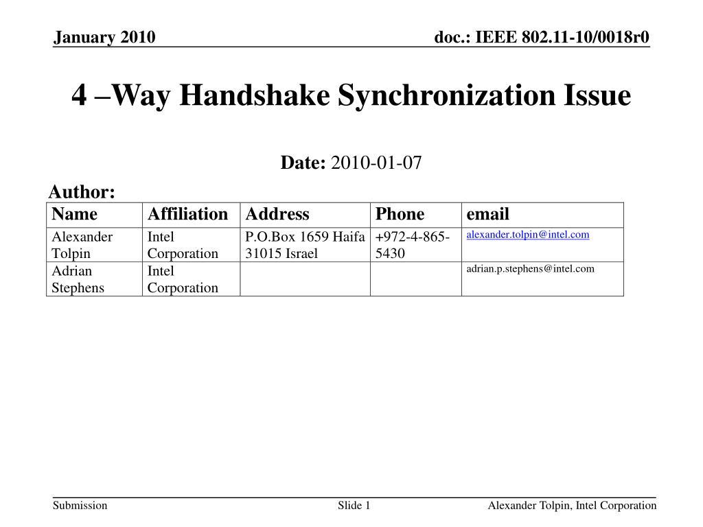 4 –Way Handshake Synchronization Issue