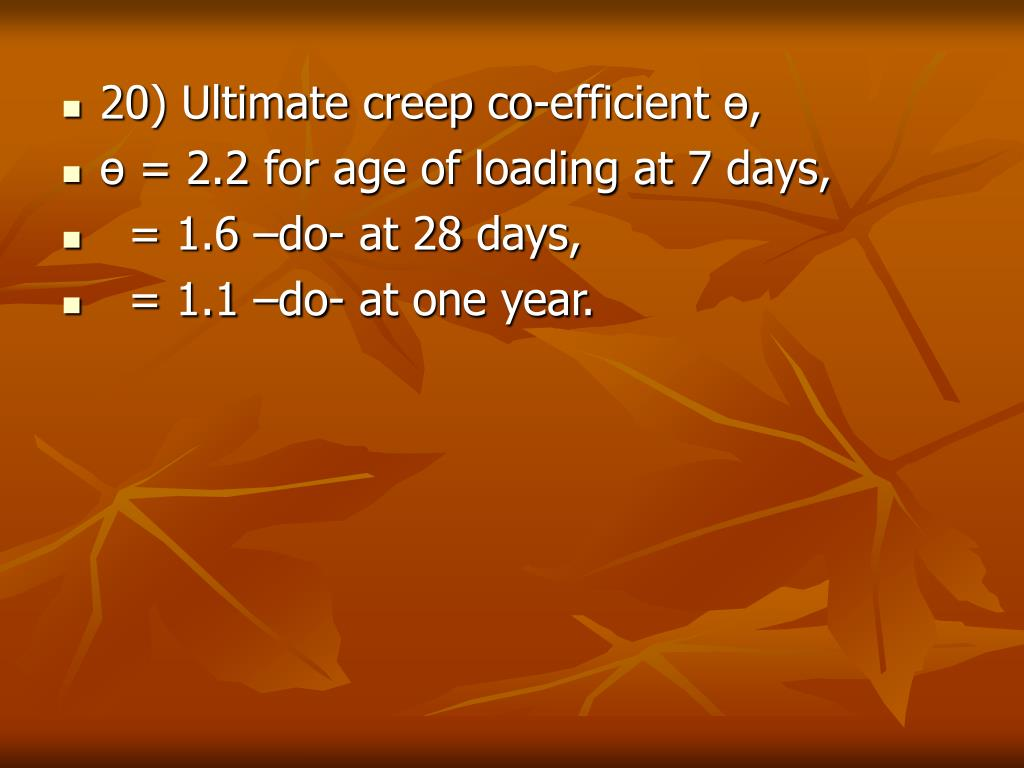 20) Ultimate creep co-efficient ө,
